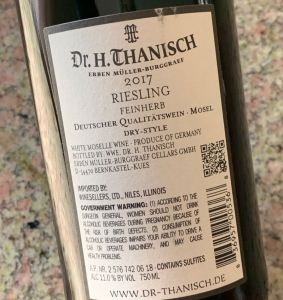 Dr. H. Thanisch Feinherb Riesling, Mosel - back label