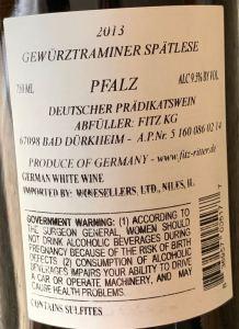 Fitz-Ritter Gewürztraminer Spätlese, Pfalz - back label