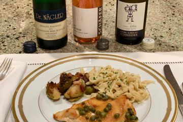 Three dry German wines paired with Chicken Piccata
