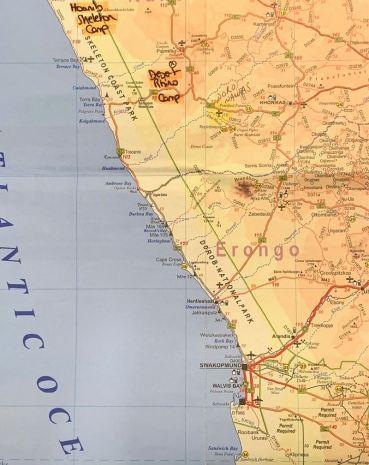 Desert Rhino Camp on the Namibian map