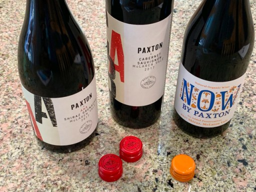 Paxton wines with screw cap closures