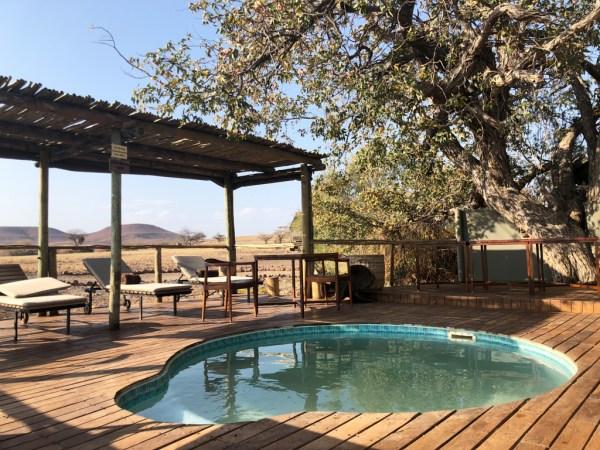 Swimming pool at Desert Rhino Camp
