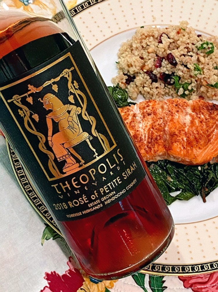 Theopolis Vineyards Rosé of Petite Sirah paired with salmon, chard and quinoa photo