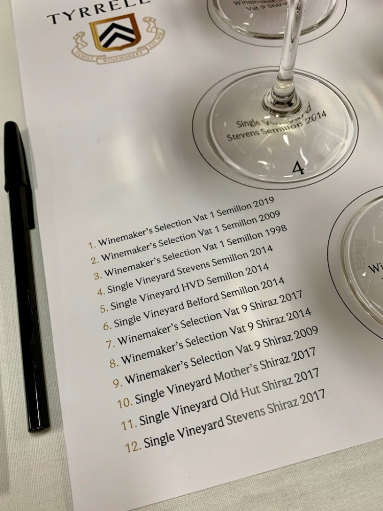 List of Semillon and Shiraz tasted at Tyrrell's Wines photo