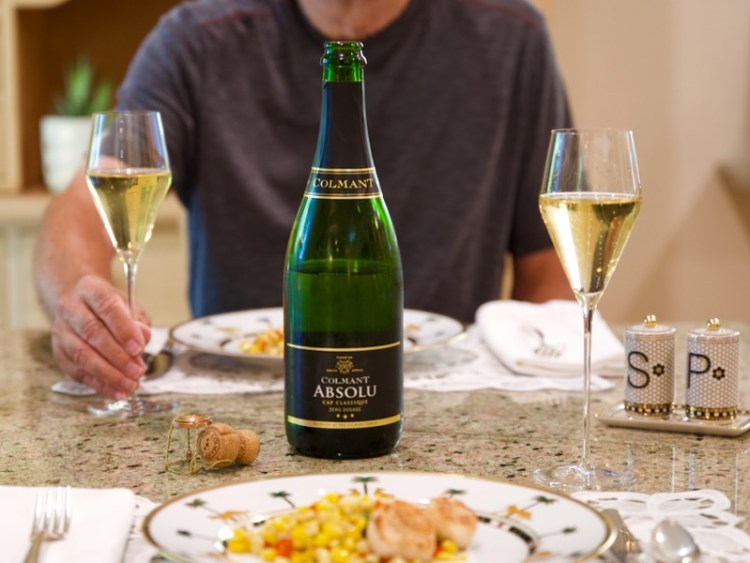 Colmant Absolu Zero Dosage NV paired with seared scallops and sautéed corn photo