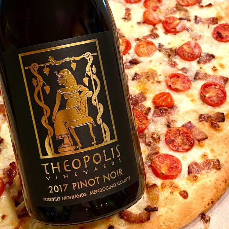Theopolis Vineyards Pinot Noir, Yorkville Highlands with pizza photo