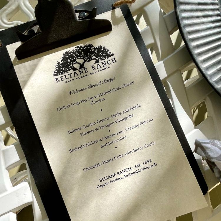 Dinner menu at Beltane Ranch inn photo