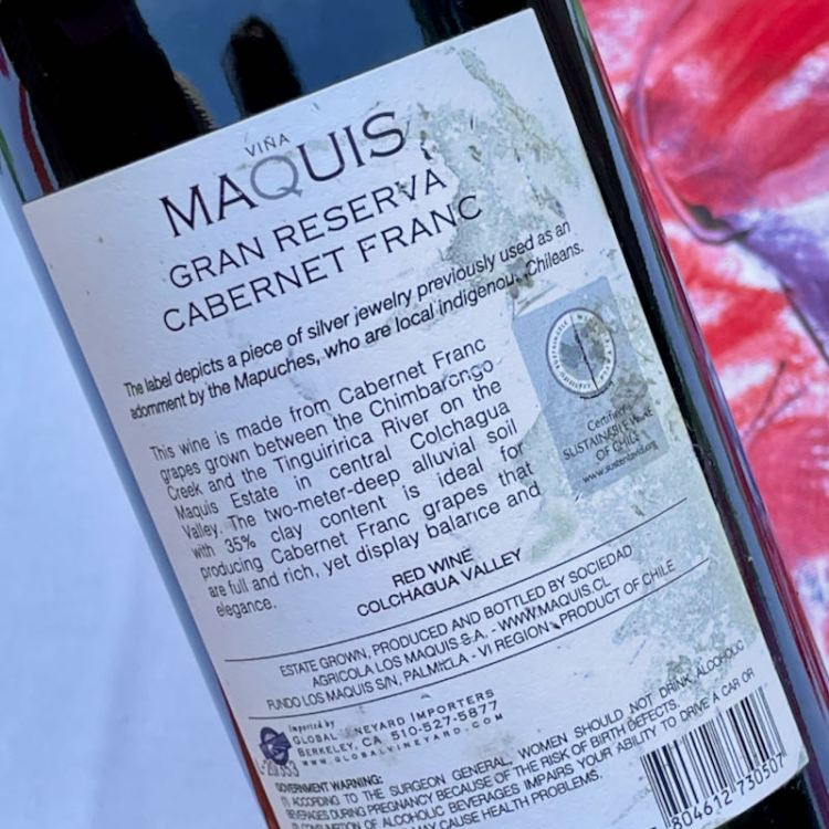 2018 Viña Maquis Maquis Gran Reserva Cabernet Franc certification photo