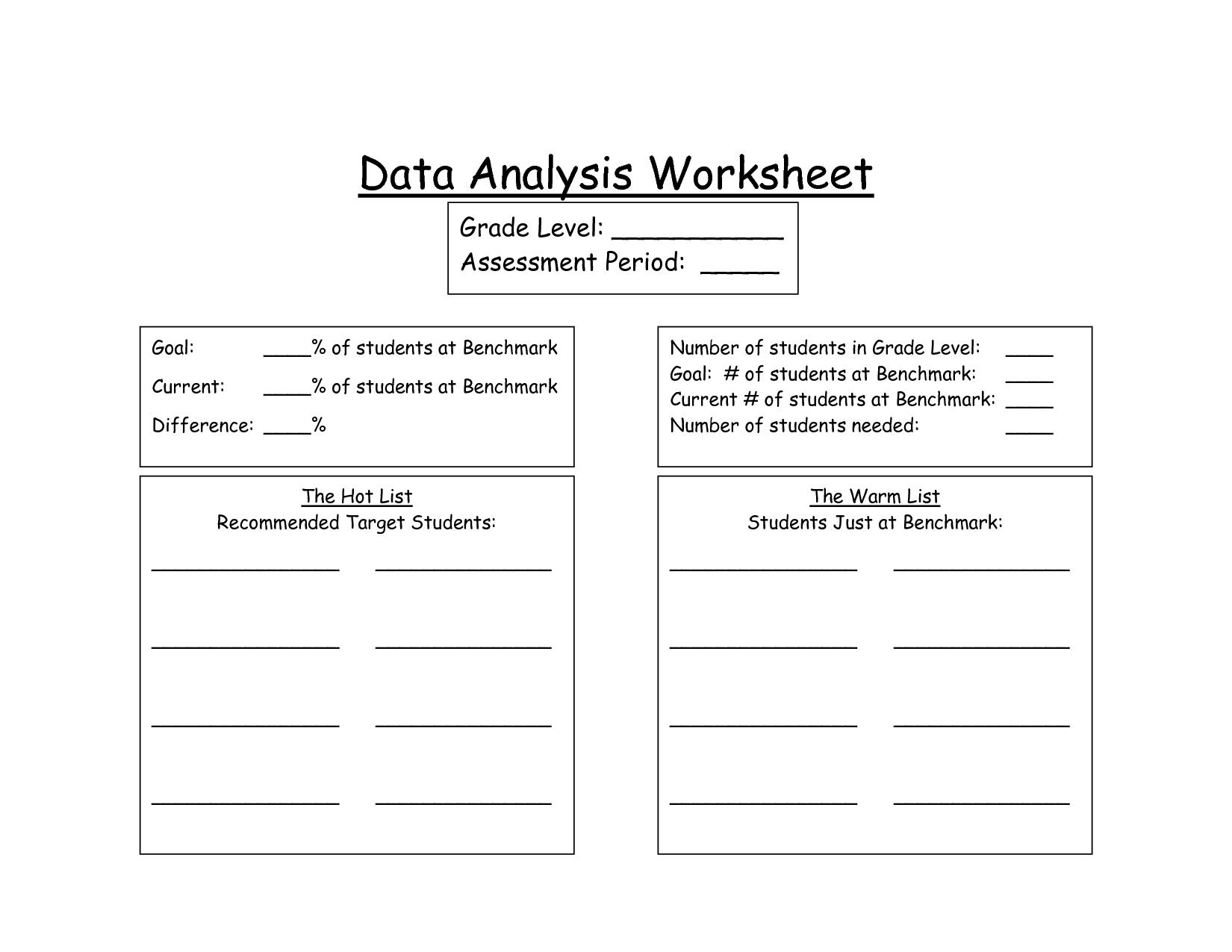 Dataysis Worksheet Worksheets For School