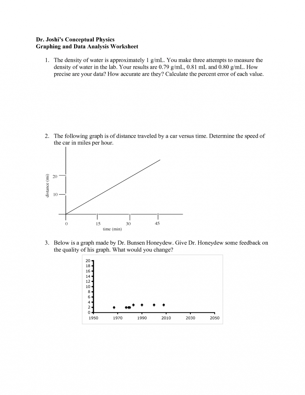 Physics Graphing And Dataysis Worksheet Biological
