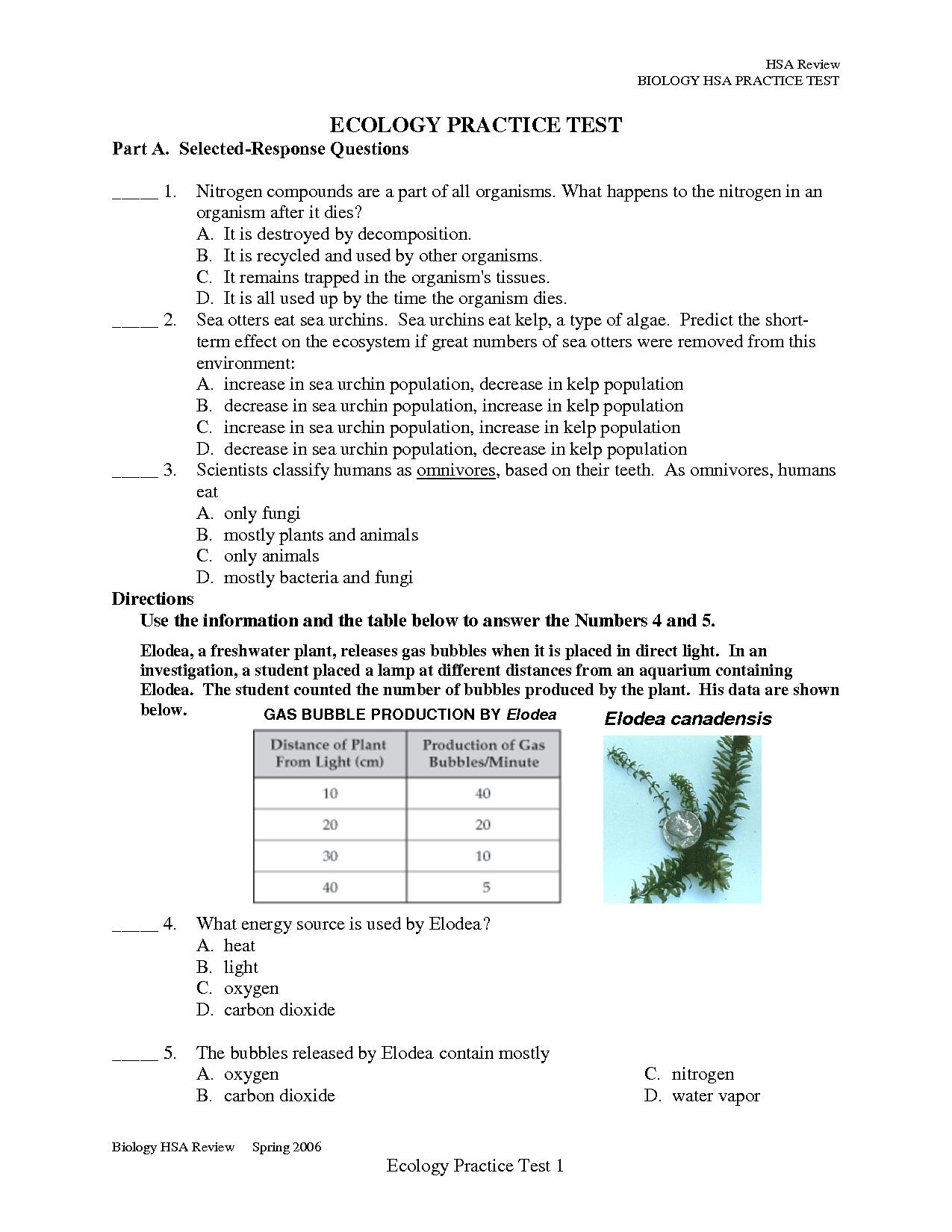 Ecology Practice Test Ap Biology Biological Science