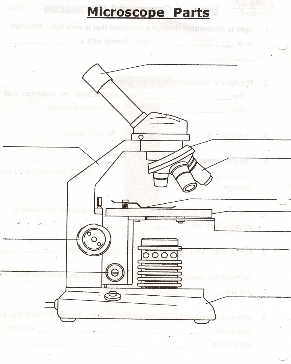 Parts Of The Microscope Quizlet Biological Science