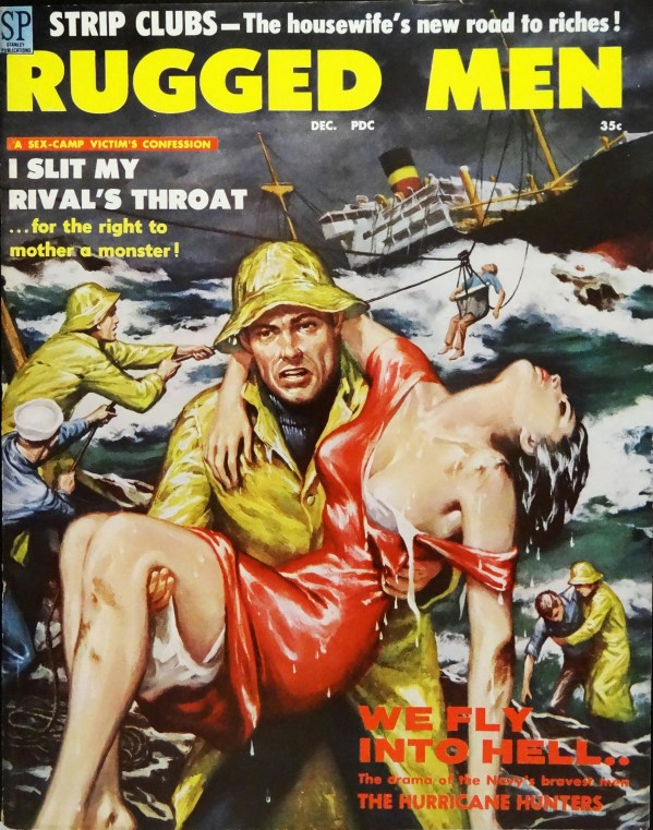 Rugged Men (Dec., 1958).  Cover by Clarence Doore