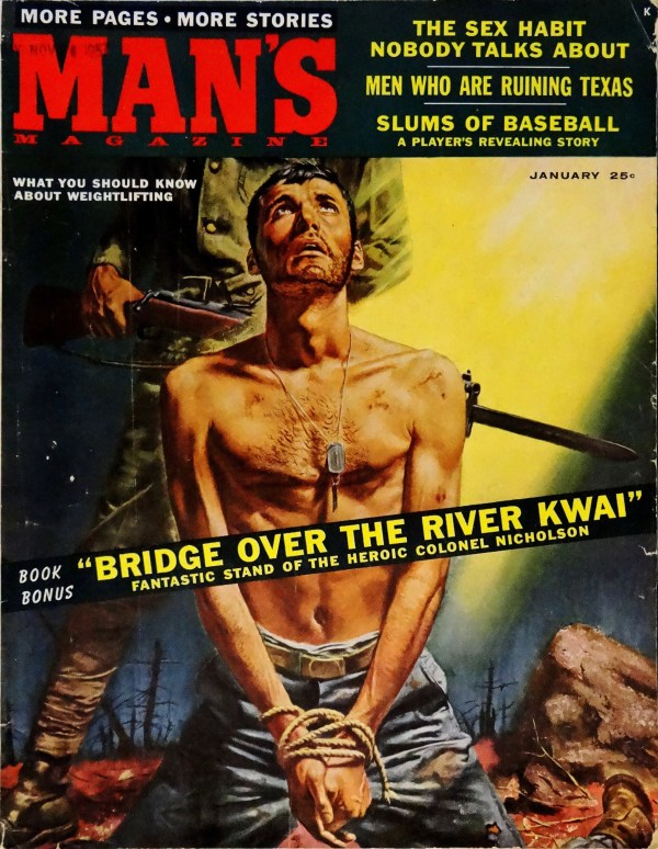 Man's Magazine (Jan., 1958). Cover Art by Mel Crair