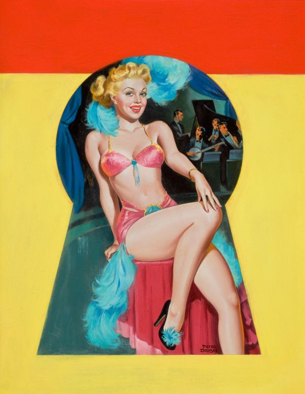 Pin-Up Sitting in the Keyhole, Whisper magazine cover, September 1950