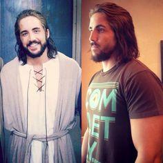 "Clayton Jennings, posing next to a photo of him as ""Jesus."""