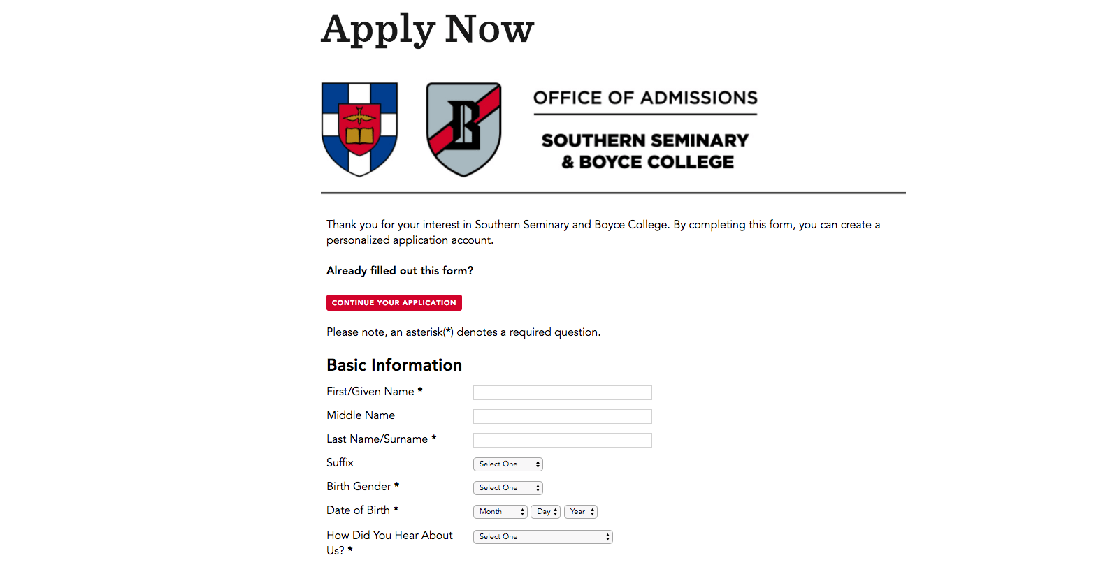 Sbts Has Odd Gender Selection Question On Admissions