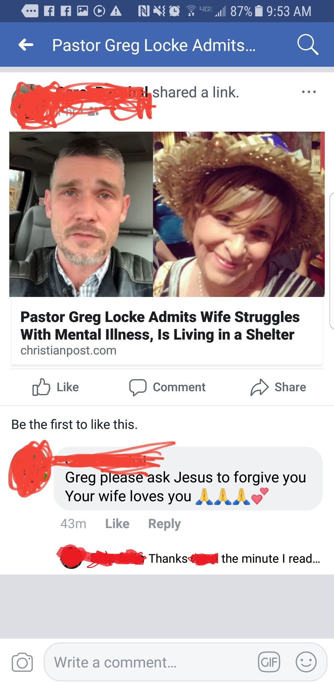 This is a screenshot from the Facebook feed of the director of the shelter  where Melissa has been staying. She is exhorting Greg to ask forgiveness.