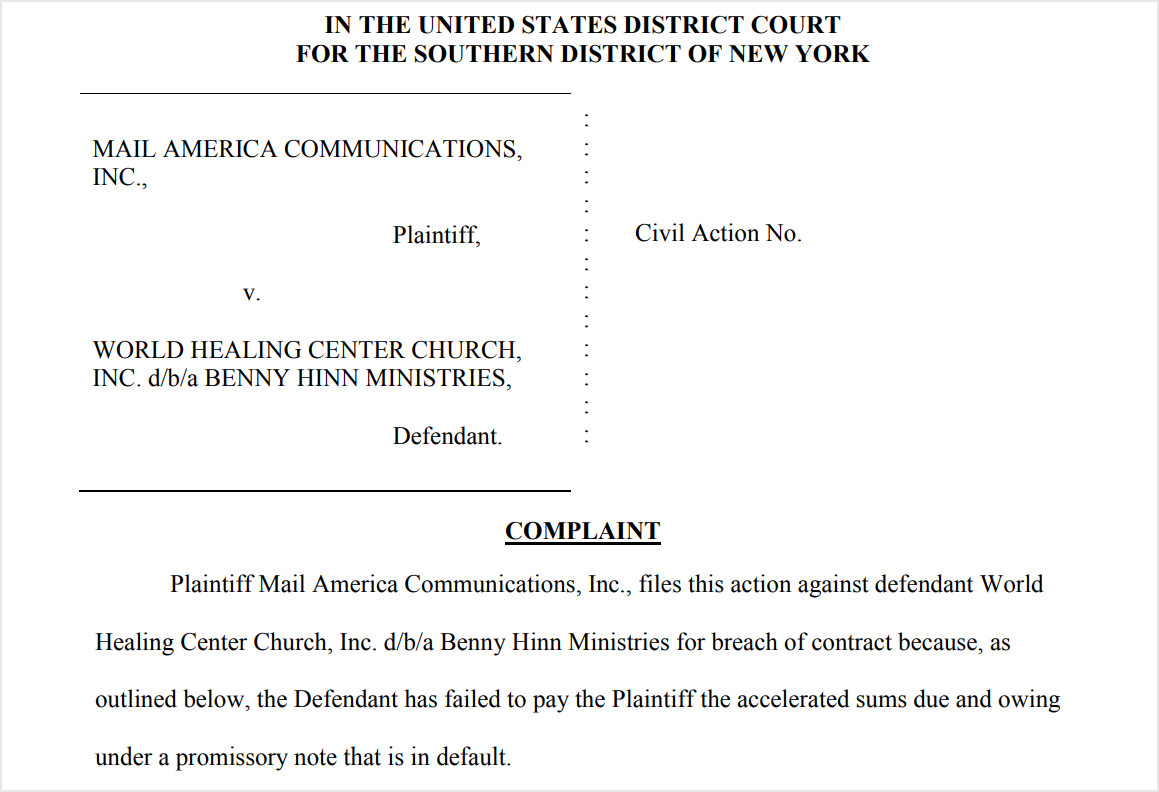 Benny Hinn Sued for Nearly 3 Million in Defaulted Loans