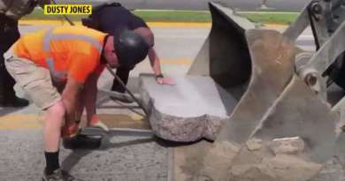 Protestor Topples 10 Commandments Monument, Drags it Down Street With Pickup