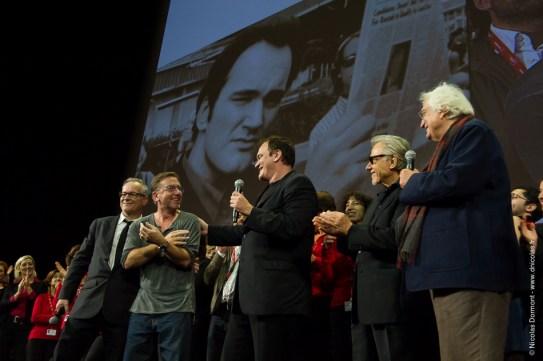 Thierry Frémaux, Tim Roth, Quentin Tarantino, Harvey Keitel et Bertrand Tavernier (crédits photo : Nicolas Dormont - www.dnicolas.fr)