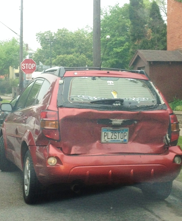 This guy who decided that he had been rear-ended enough: