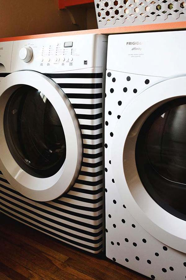 7.) Use tape to decorate your washer and dryer.