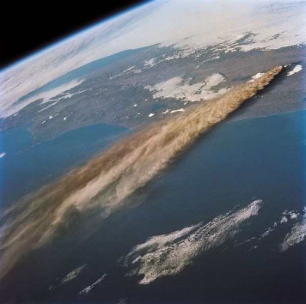14. A volcanic eruption as seen from space.