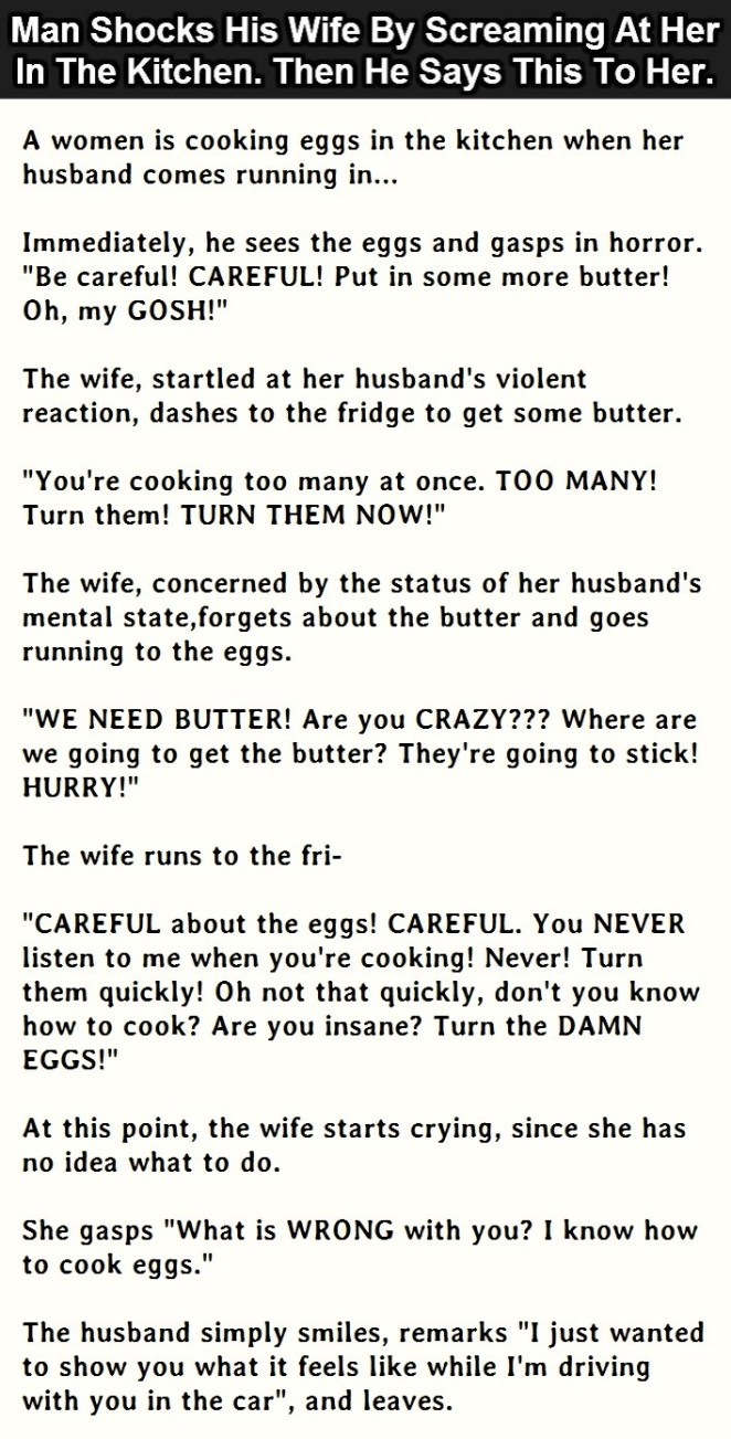 Man Shocks His Wife By Screaming At Her In The Kitchen. Then He Says ...