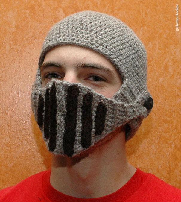 Crocheted Knight's Helmet Cap