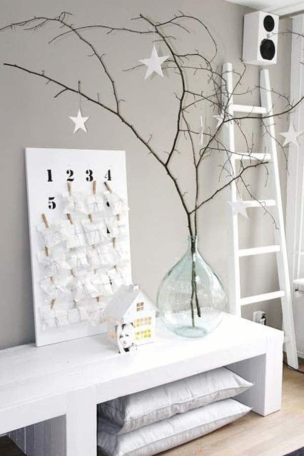1 you cant go wrong with a few branches and some star ornaments - Minimalist Christmas Decor