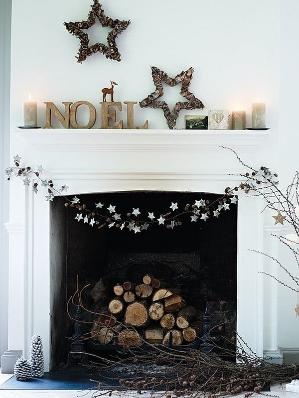 10 make your fireplace more woodsy with some branches and knick knacks - Minimalist Christmas Tree Decor