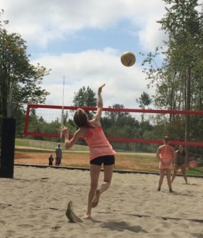 Claire In Action At A Beach Volleyball Game