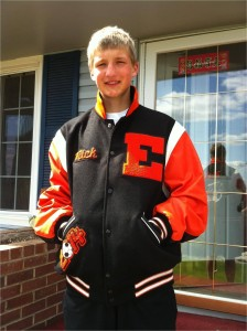 Nick in his high school lettersman jacket