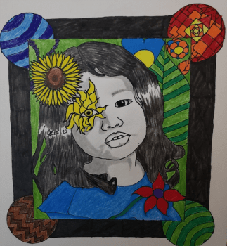 A drawing of a girl with long hair, wearing a blue dress and with flowers around her.