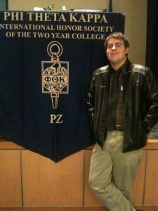 Mitchell being inducted into the Phi Theta Kappa honor society at Wenatachee Valley College