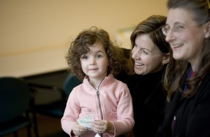 Olivia, at age 3, and her mom Cindy visiting the Craniofacial Center at Seattle Children's.