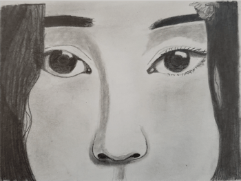 A drawing of a person showing the eyes and nose.
