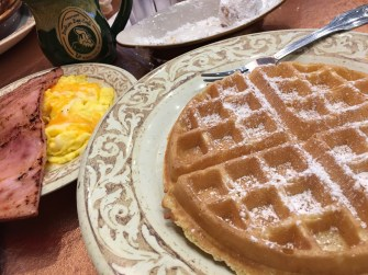 Belgian waffle topped with powdered sugar