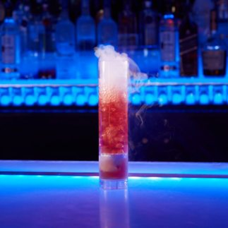 (Fire & Smoke Frost Bite Cocktail.)
