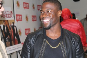 """Kevin Hart laughs at Josh Gad's personal connection to his character """"Doug"""" November 1,2014. (Lauryn Froneberger/ Pulsefeedz)"""