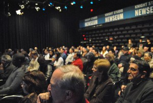 Almost all seats were filled in the Knight Studio at the Newseum, to hear panelists speak on the future of female sports journalists. (Breana Bacon/Pulsefeedz)