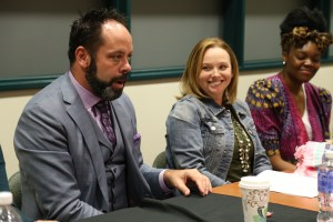 Christopher Schafer speaks to students next to Meg Ely and Nikki Billie Jean. Courtesy of Allene Abrahamian/College of Arts and Humanities