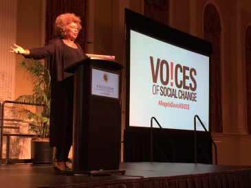 Angela Davis answers student questions after her speech.