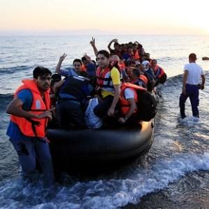 Courtesy of UK News: Migrants arrive on the beach at Psalidi near Kos Town, Greece.