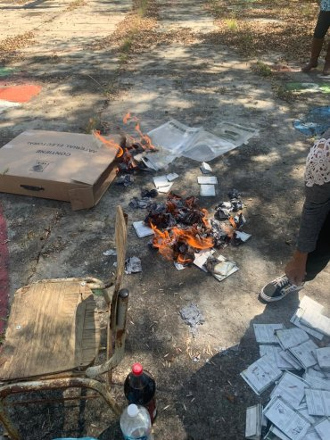 Election materials on fire in Pacula, Hidalgo.