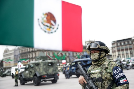 A marine attends Mexico's Independence Day military parade in Mexico City, capital of Mexico, Sept. 16, 2020.