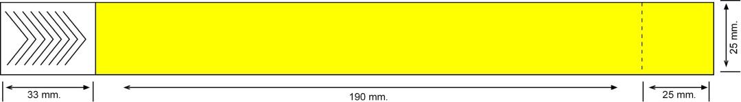 Tyvek 25 mm con cupón, amarillo neón