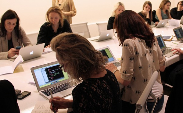 Lily Cole and other women at the Decoded digital training in coding
