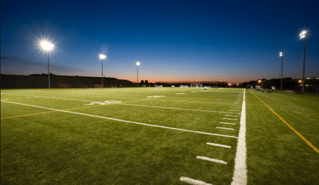 Lights, turf and sunset